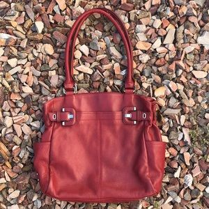 Tignanello Red Leather Shoulder Purse
